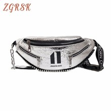 Fanny Pack Pu Leather For Women Woman Small Designer Female Waist Bag Korean Fashion Chest Bags Width Straps Pocket Dancing Bags