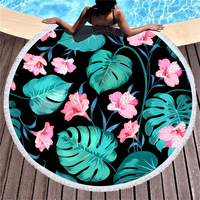 Tropical Plants Printed Large Round Beach Towel for Adult Yoga Mats Microfiber with Tassels Thick 150cm Cloth Big Beach Towels