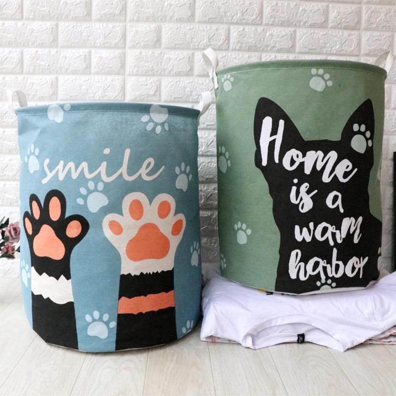 Cute Cartoon Cat Printed Folded Storage Basket Canvas Fabric Barrel Bucket Container For Toy Clothes Home Organizer
