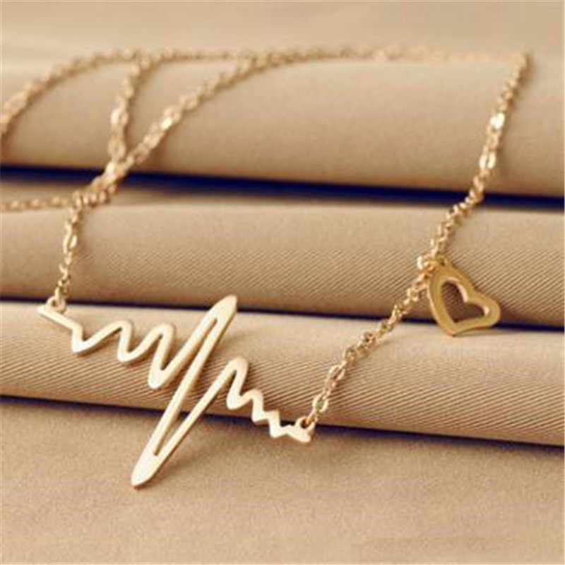Gold Color Chain Heart Pendant Necklace Women Titanium Steel Heartbeat Necklace Silver Female Choker Necklaces Jewelry Girl Gift