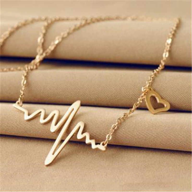 Cor de ouro corrente coração pingente colar feminino titânio aço batimento cardíaco colar prata gargantilha feminino colares jóias presente da menina