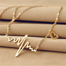 Gold Color Chain Heart Pendant Necklace Women Titanium Steel Heartbeat Necklace Silver Female Choker Necklaces Jewelry Girl Gift(China)