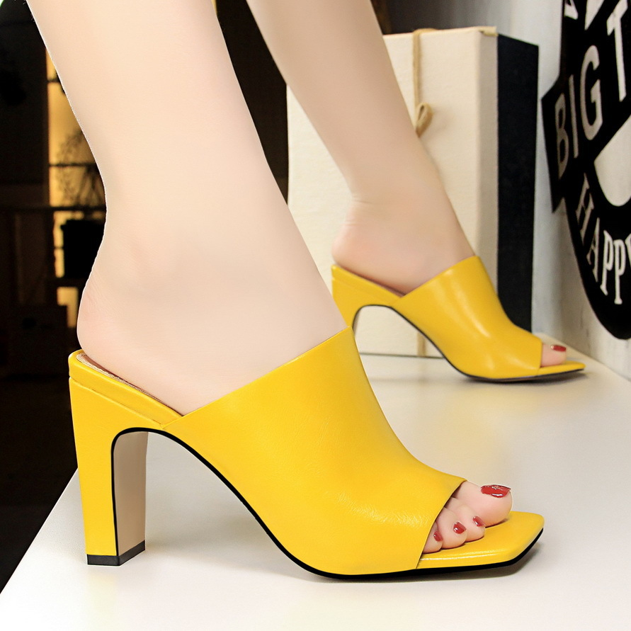 Fashion Heeled Bigtree Shoes Woman Rubber High Square Mouth Fish Slippers Women Summer 34 35 36 37 38 39 40 White Yellow Black in Slippers from Shoes