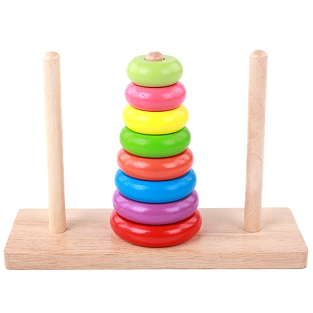 Rationeel Regenboog Houten Donut Speelgoed Toren Jenga Blokken Kinderen Onderwijs Speelgoed Zeven Kleur Ringen Kids Stapelen Ringen Baby Gestapeld Speelgoed