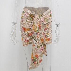 Image 4 - Karlofea אלגנטי פרחוני נצנצים חצאיות נשים שיק סימטרי קדמי זרוק עטוף מיני לעטוף חצאית סקסית מועדון מסיבת תלבושות חצאית