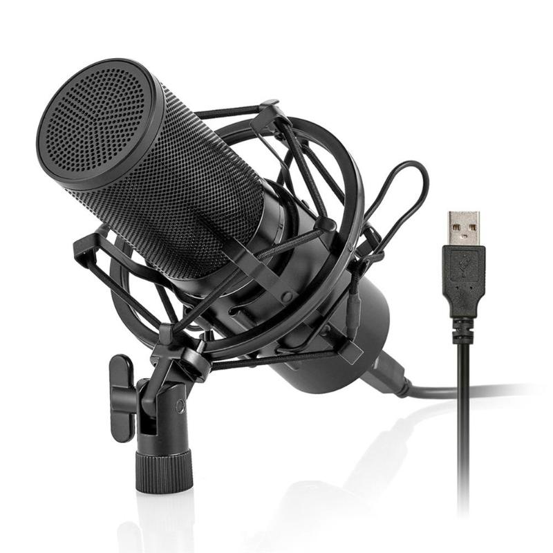 VODOOL Professionnel USB Filaire Microphone À Condensateur Pour Ordinateur Portable Audio Studio D'enregistrement Microphone Mic Avec Support Stand