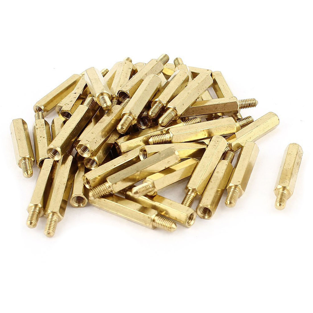 ELEG-50 Pcs <font><b>M3</b></font> 3mm Male Female Brass PCB Spacer Hex Stand-Off Pillar <font><b>20mm</b></font> image