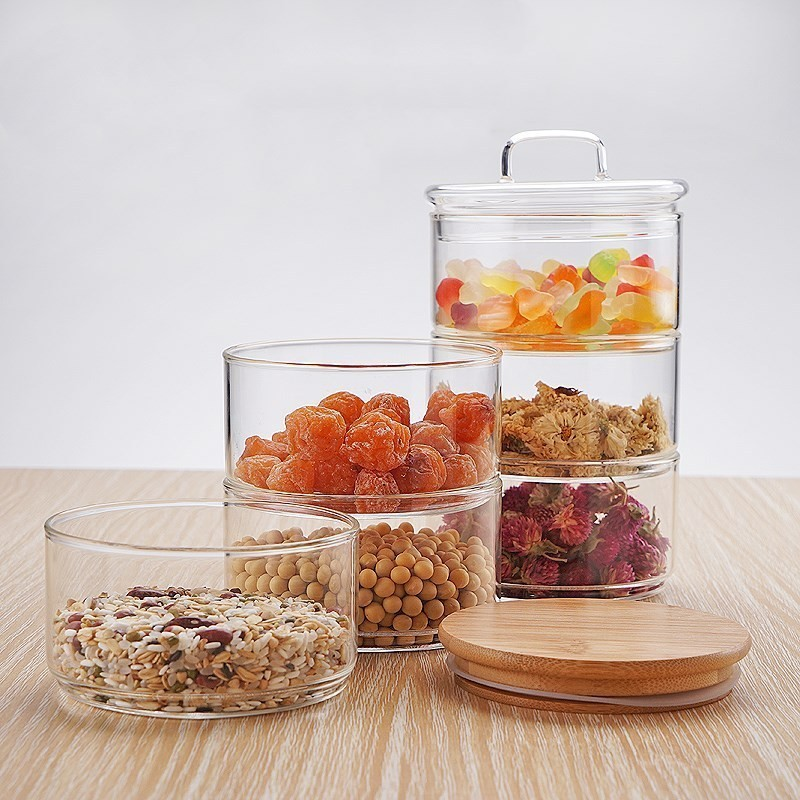 US $18.0 40% OFF|New 1200ml 3 layer Mason Borosilica Glass Jar Kitchen Food  Bulk Container Set For Spices Dried Fruit Storage Can Salad Bowl Box-in ...
