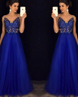 Royal Blue Evening Dresses Long 2018 New Arrival Cheap Lace Appliques V neck A line Sleeveless Cheap Special Occasion Gowns