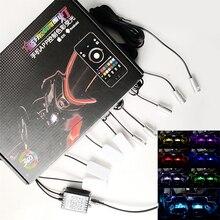 12V RGB LEDบรรยากาศหลอดไฟรถภายใน 6M Optical Strip Light & FLOORภายในโทรศัพท์APP Control