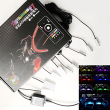 12V RGB LED Atmosphere Lamps with Car Interior 6M Optical Fiber Strip Light & Floor Foot By Phone App Control