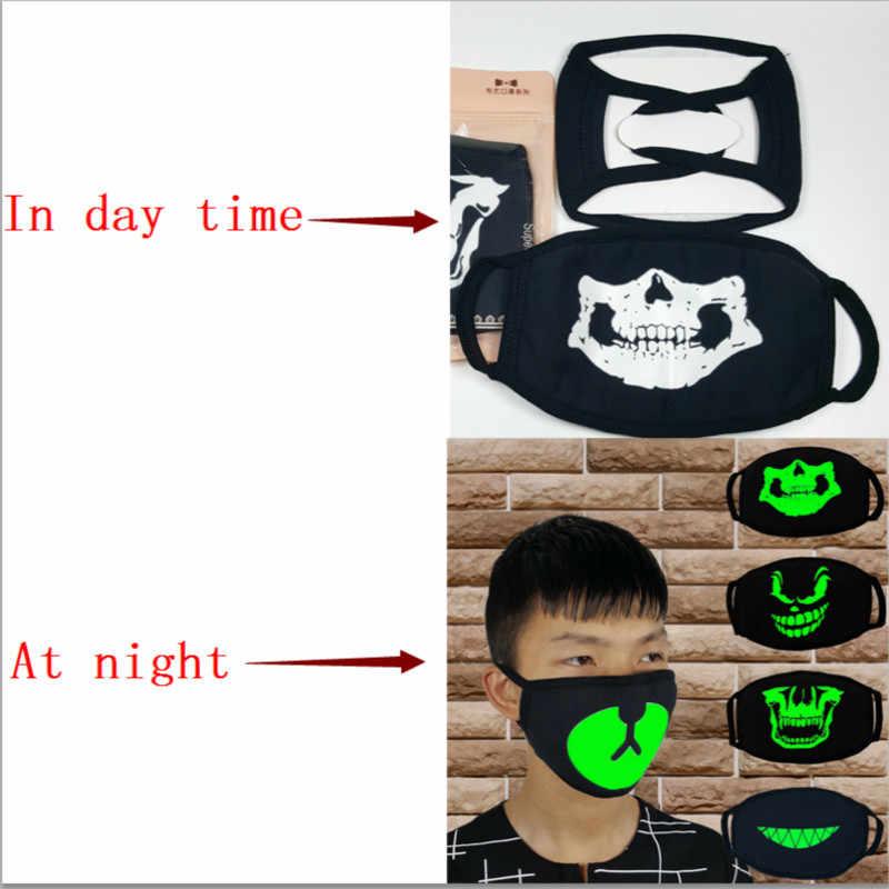 Fashion Unisex Masker Wajah Solid Solid Hitam Masker Setengah Wajah Mulut Meredam Panas Noctilucence Masker
