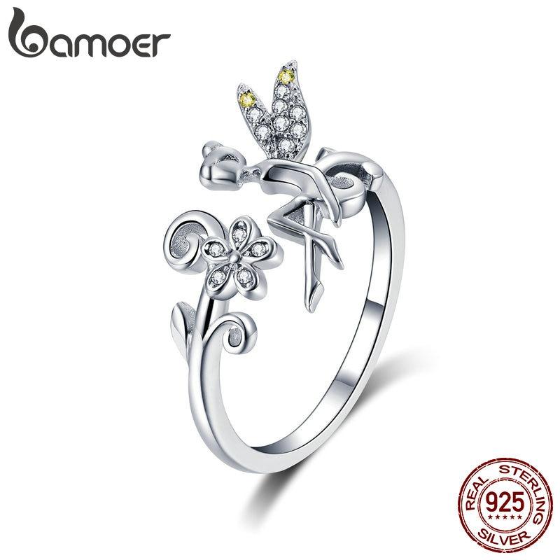 BAMOER New Arrival 925 Sterling Silver Fairy & Daisy Flower Open Size Finger Rings Women Wedding Engagement Jewelry BSR025 mariposa en plata anillo