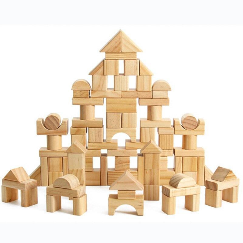Enfants Mini bricolage En Bois blocs de construction Forme Géométrique jouets éducatifs Jeu