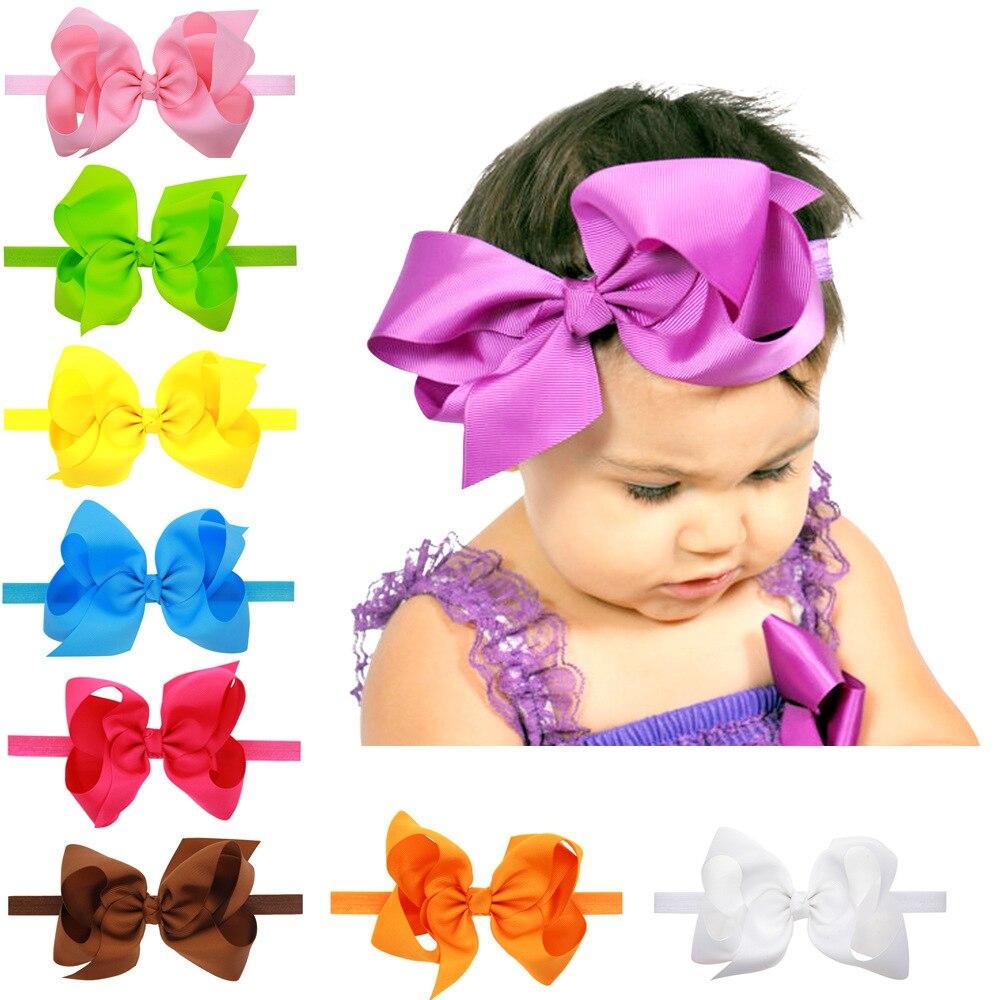 16ks / lot 6 palců krásný novorozenec elegantní luk čelenka vlasové pásky vlasové doplňky jednobarevné vlasové doplňky pro děti