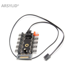 ARSYLID 4Pin Fan Hub 1 to 10 Cooler Cooling Splitter Cable adapter PWM 12V 4Pin Power Supply SATA D4pin