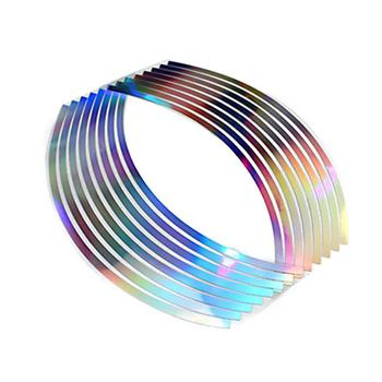 PVC 10/12/14/18 Inches Laser Wheel Rim Tape For Motorcycle And Car Reflective 16 Stripes Reflective Body Sticker image