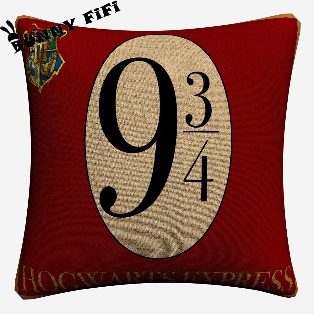 Harry Potter Decorative Cotton Linen Cushion Cover 45x45cm For Sofa Chair Pillowcase Home Decor Almofada in Cushion Cover from Home Garden