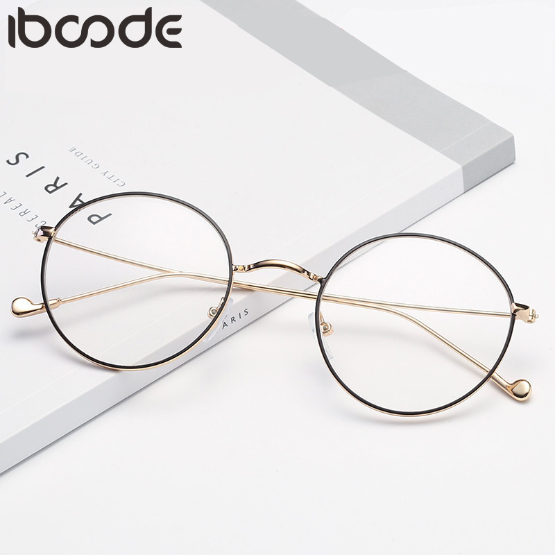 Iboode New Retro Metal Round Frame Myopia Glasses Women Men Short Sight Clear Lens Students Eyeglasses With Degree -0.5 To -4.0
