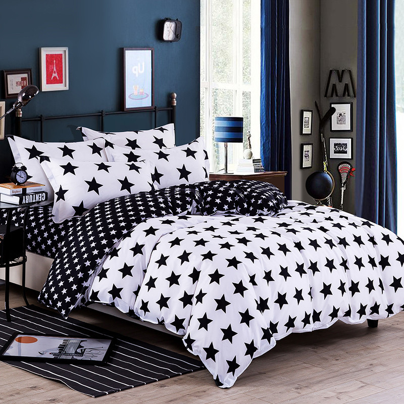 2018 New Arrival 1pc Star Moon Single Double Duvet Cover Quilt Minimalism Polyester Reactive Printing Geometrical Duvet Cover 44