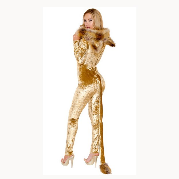 Cosplay Halloween Party Costume Skinny Sexy Catwoman Jumpsuit Deep V Neck Bodysuit Women Long Sleeve Faux Fur Jumpsuit