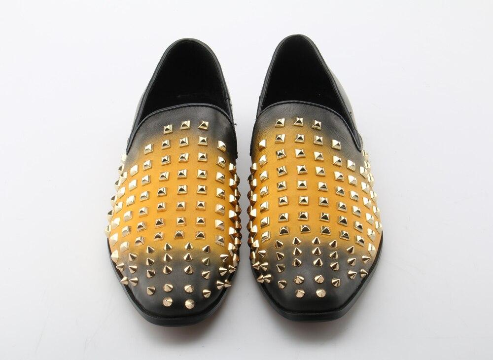 Amarillo Lujo Slip Souliers Hombres On De Barco Zapatos Zapatillas Mocasines Cuero Casual 2018 Marca Otoño Stud 7q4AHRA