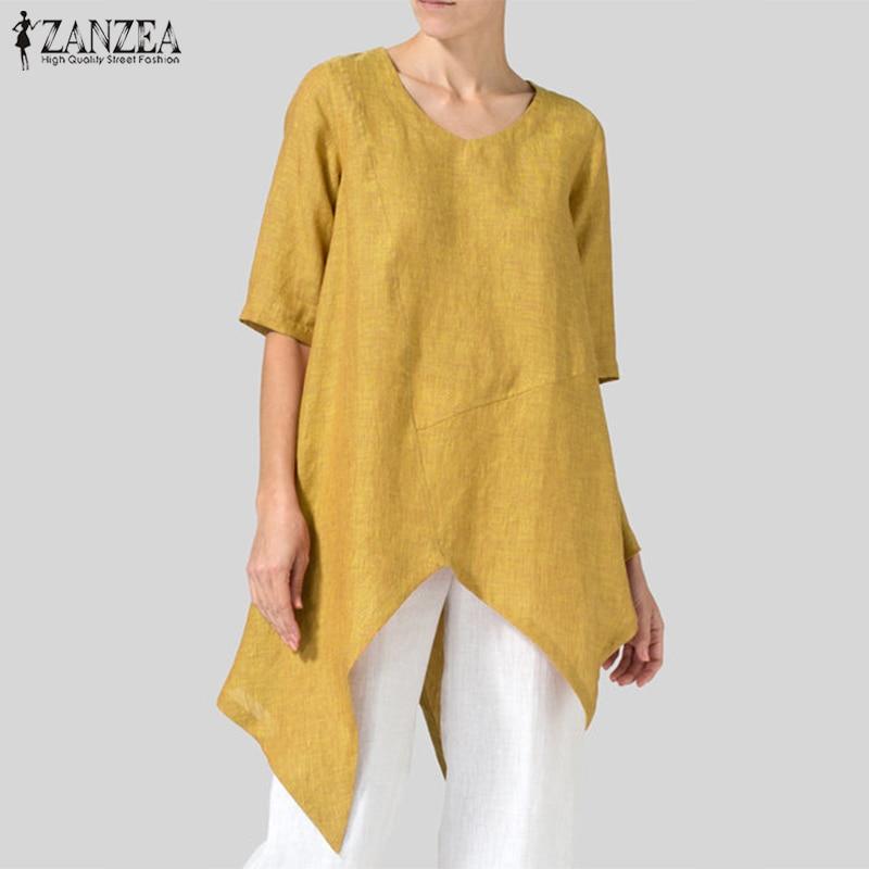 2019 ZANZEA Plus Size Women   Blouse     Shirt   Ladies Casual Office Work Blusas Asymmetrical Hem Tunic Tops Womens Clothing Large Size