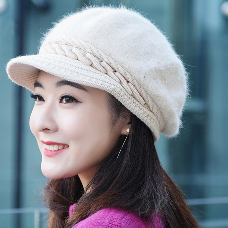 Winter Heiße Gestrickte Hüte Baskenmütze Wolle Warme Caps Fleece Innen Koreanische Mode Für Frauen Damen Weibliche Hut Kappe Baskenmütze Skullies Beanies Um Eine Reibungslose üBertragung Zu GewäHrleisten Kopfbedeckungen Für Damen