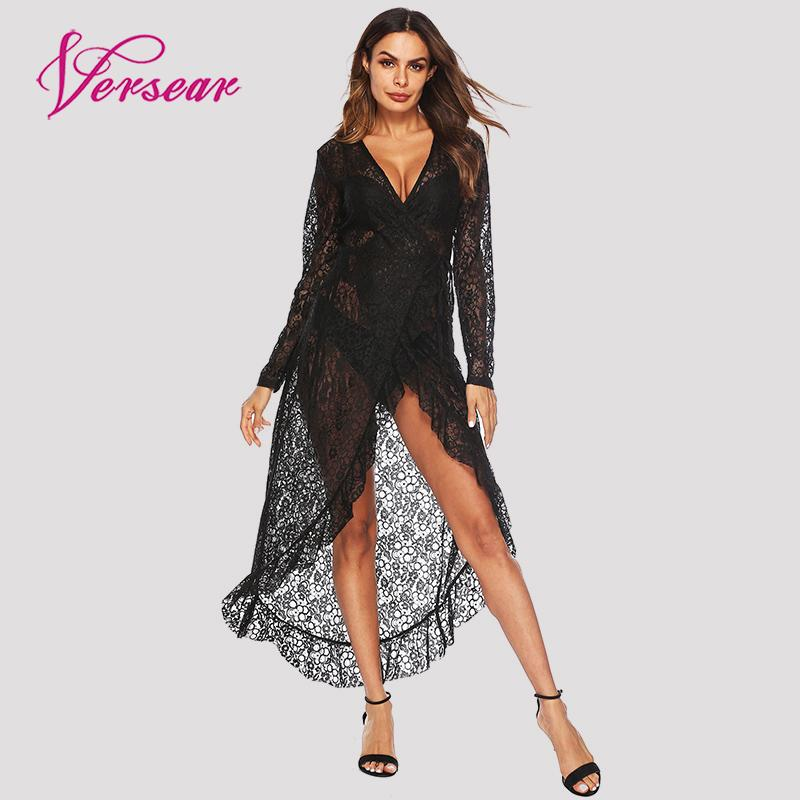 Versear Women Sexy See Through Floral Lace Dress V-Neck Hollow Out Long Sleeve Beachwear Cover Up Female Sundress Vestidos