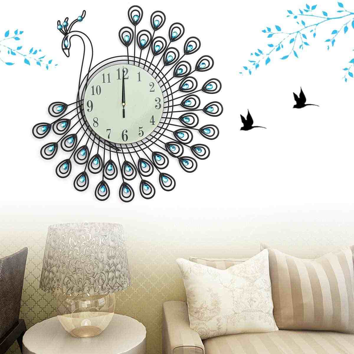 Большой 3D современный DIY Павлин металлический кристалл стекло алмаз наклейка светится в темноте Искусство Декор для дома комнаты 54*54 см