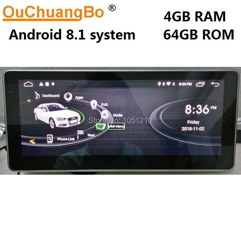 Ouchuangb Android 8.1 radio lecteur audio pour Q5 A5 RS4 RS5 A4 b8 avec navigation gps multimédia concert 8 core 4 GB + 64 GB