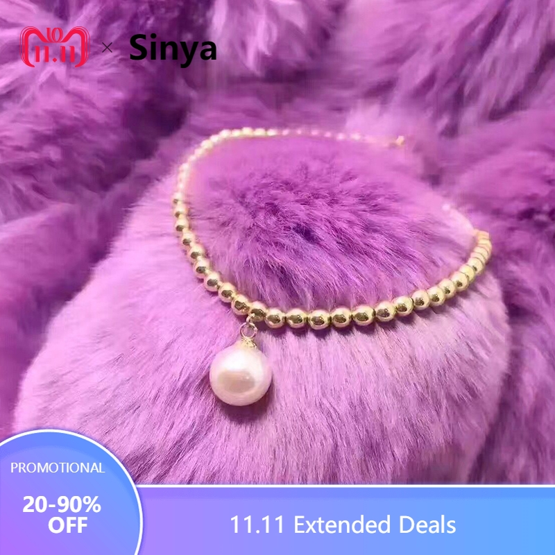 Sinya Natural pearls 18k gold beads strand bracelet for women girls Mom lover length 16+2cm can adjustable pearl diameter 8.5mm universal bicycle mount for flashlights and gadgets 2cm 3cm diameter adjustable