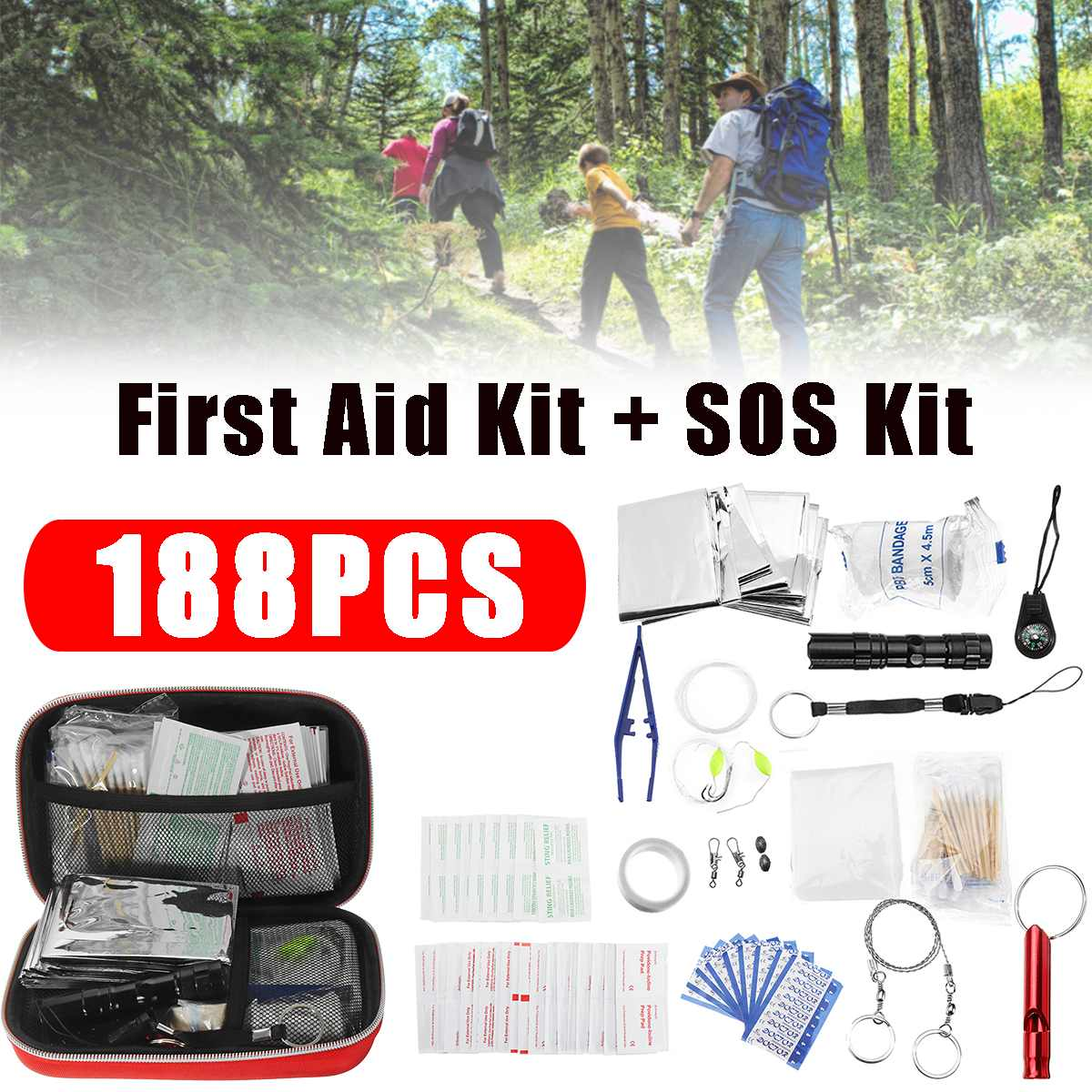 188pcs First Aid Kit Travel Bag Small Medical Emergency Equipment Survival Hiking Camping Box Lightweight Versatile Portable