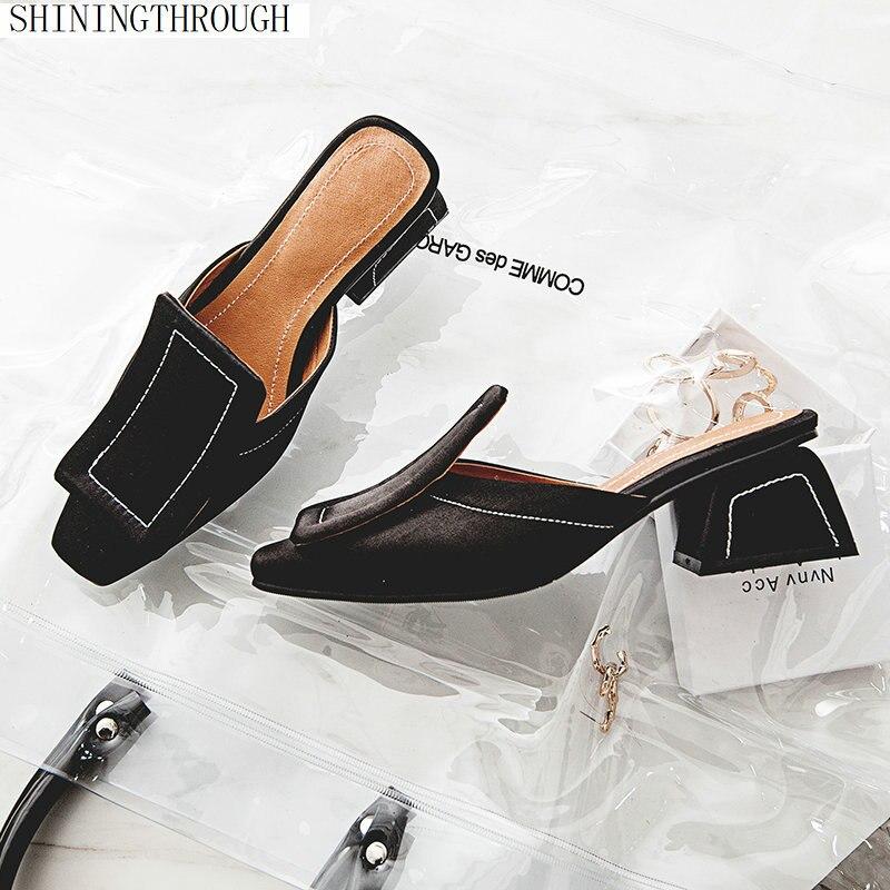 Nouveauté été Satin femmes pantoufle bout rond couture sabot talons chaussures de mode 2018 marque dames Mules chaussures