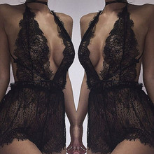 The latest sexy underwear womens transparent lace deep v dress