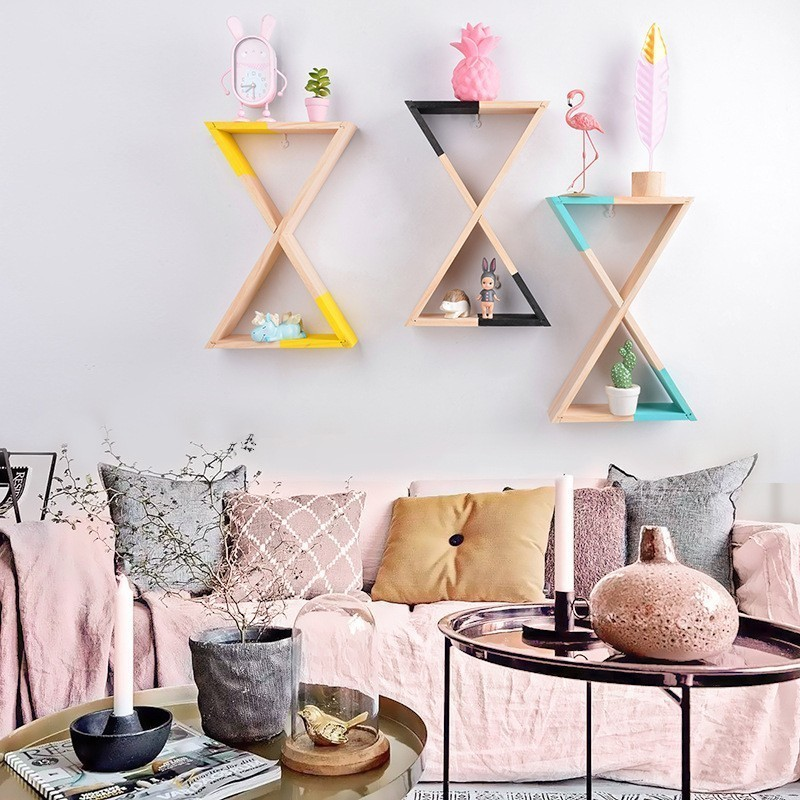 LM Triangle Shelf Wall Mounted Floating Shelves Home Decor Bedroom Storage Home Storage Organization