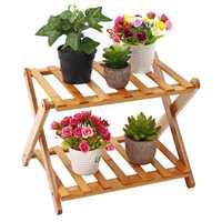 Wooden Foldable Flower Pot Plant Stand 2/3/4/5 Tiers Planter Flowers Pot Tray Display Rack Shelf Organizer Garden Balcony Decor