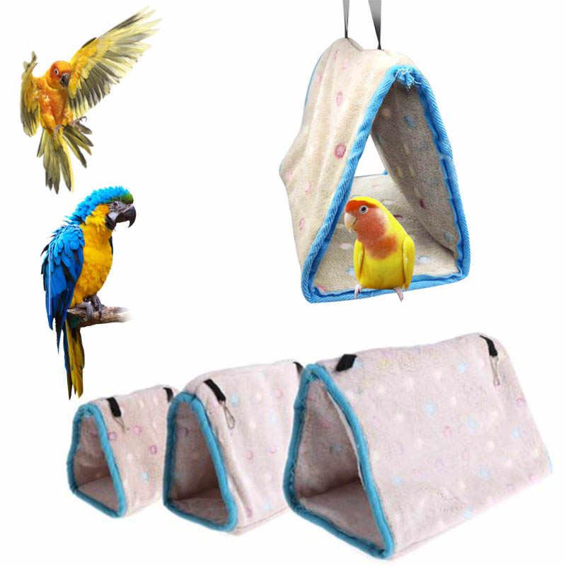 3 размера, Висячие хлопковые птичьи гнезда, хомяк, гамак, треугольные гнезда, пещера, клетка, плюшевая хижина, палатка, кровать, двухъярусная игрушка для попугая