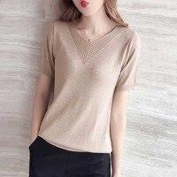 Loose Short sleeve Silk T shirt Female kKnitting Harajuku Women's T shirt Fashion Self cultivation Summer t shirt girls ls089