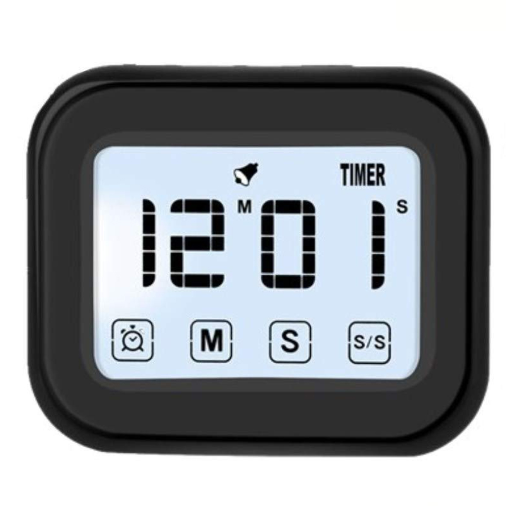 Hot Sale Kitchen Timer Digital Alarm Clock Lcd Touchscreen Magnetic Backing Come With Night Light 2 Modes Mute/ring Black Smoothing Circulation And Stopping Pains Kitchen,dining & Bar Kitchen Timers