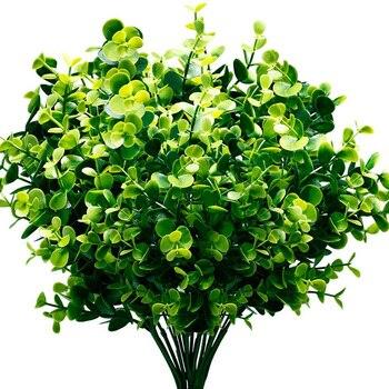 Plantas artificiais Falso Buxo Arbustos 6 Pack, Lifelike Falso Folhagem Verde com 42 Hastes para Jardim, jardim do pátio, de Casamento, De
