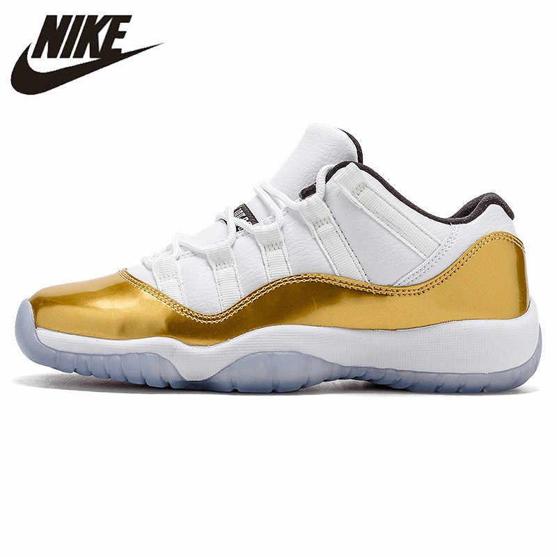 Nike Air Jordan AJ 11 Ouro Retro Baixo Tênis de Basquete dos homens Esportes Ao Ar Livre de Absorção de Choque Confortável Sapatilhas #528895 -103