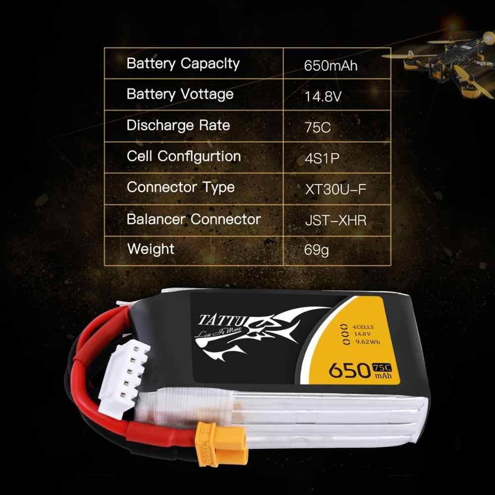 Литий-полимерный аккумулятор tattu 14,8 V 650 mAh Lipo 4S 75C RC аккумулятор с XT30U-F вилкой батареи для 150 размера FPV маленький Дрон рамка