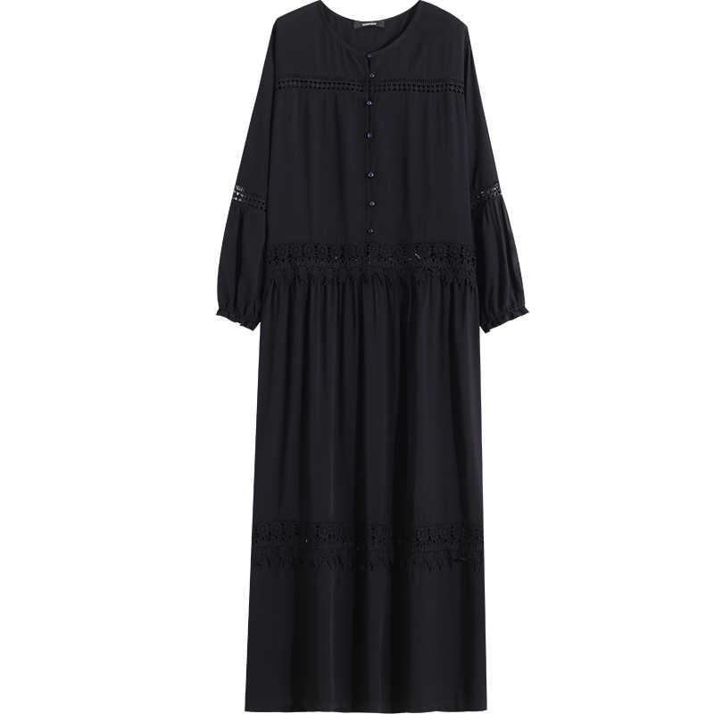 LANMREM открытое кружевное комбинированное однотонное платье 2019 весна лето новый узор свободный большой размер длинный рукав одежда YH210