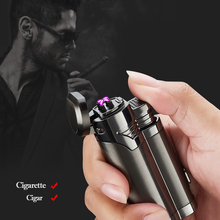Dual Arc Electric Usb Lighters With Cigar Cutter Plasma Chargeable Cool Wind -tight Electronic Cigarette