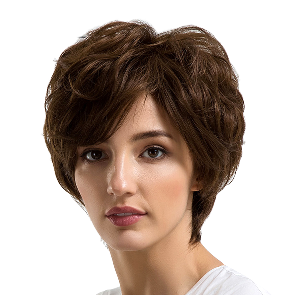 Charming Lady Fluffy Short Curly Wig Oblique Fringe Natural Brown Human Hair Heat Resistant with Free Cap 10 Inch stylish short capless side bang synthetic fluffy brown highlight curly bump wig for women