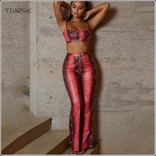 Summer 2 Piece Set Women Pant And Top Snake Print Tube Crop Tops Tank High Waist Skinny Flare Trousers Sleeveless Slim Outfits