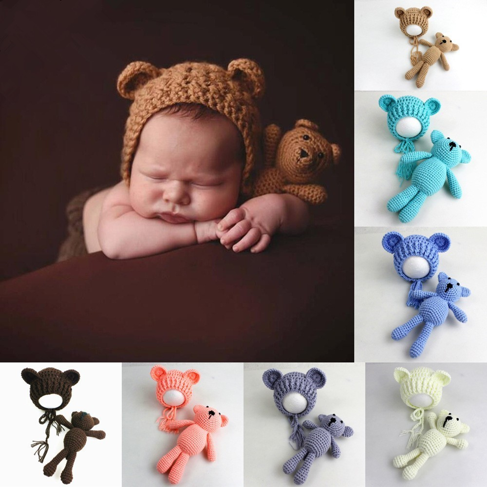 Newborn Baby Photography Props Bears Ear Hat+Toys Set Handmade Knitting Baby Hats Caps Baby Photo Prop Accessories Fotografia