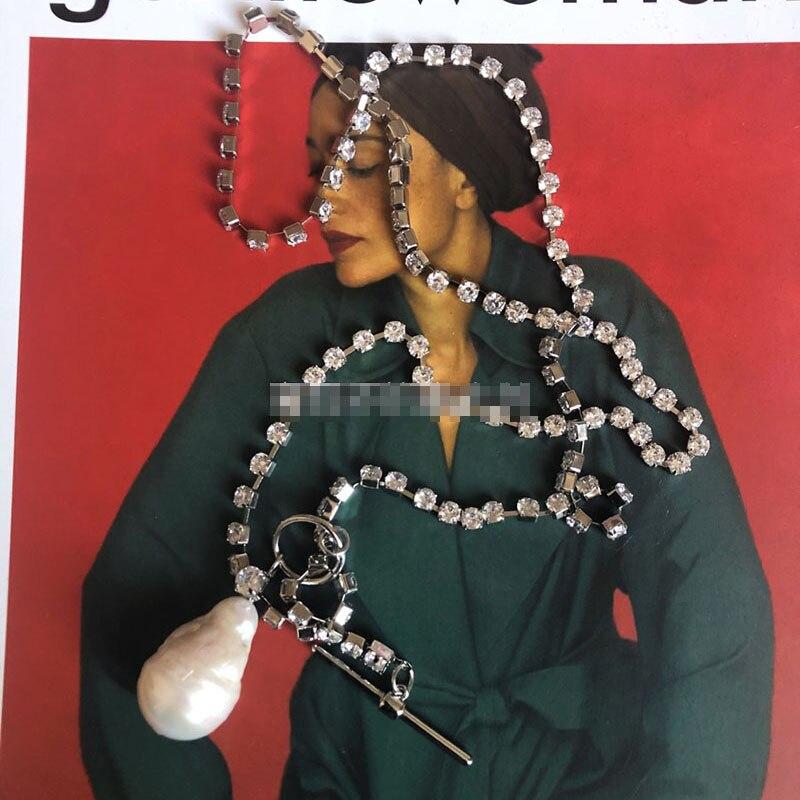 Natuurlijke vormige barokke parel ketting vrouwelijke 18 herfst en winter nieuwe Europese en Amerikaanse eenvoudige zirkoon ketting lange sectie-in Hanger Kettingen van Sieraden & accessoires op  Groep 1