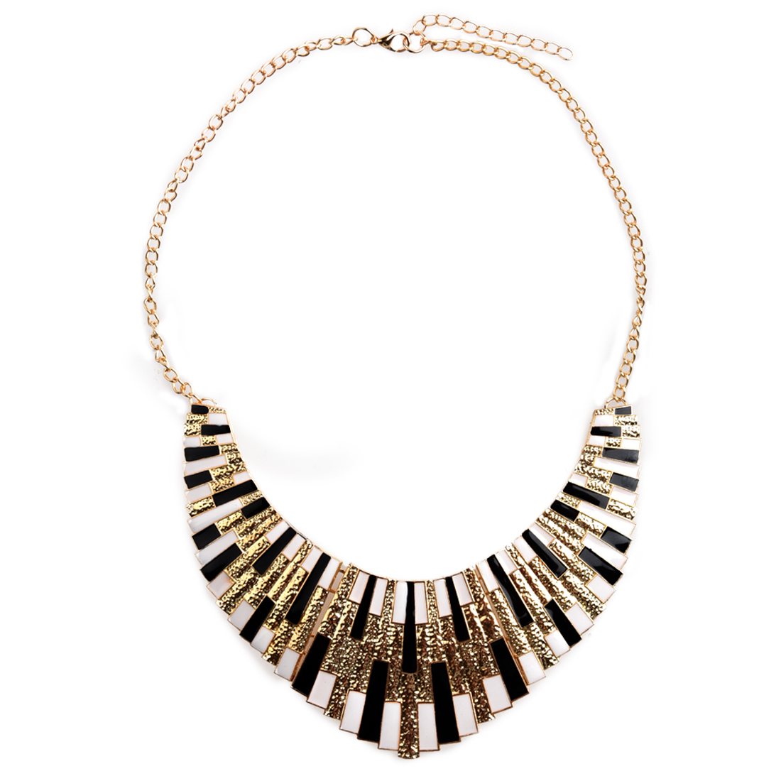 Chain Necklace fancy Jewelry Vintage Gold Bohemian Style Woman Gift black and white